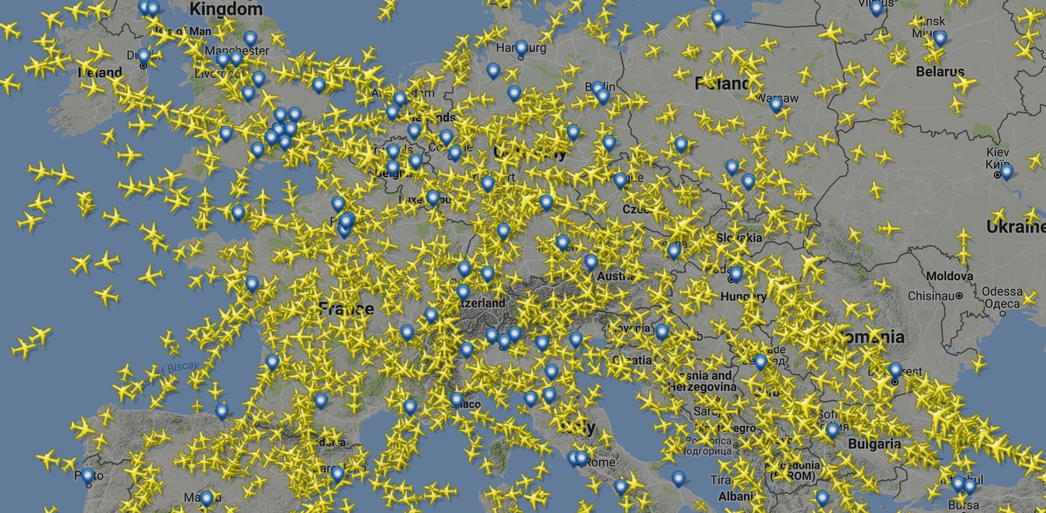 So sah der Himmel über Europa in der Zeit aus, in der dieser Artikel entstand.